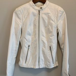 Express White Faux Leather Jacket
